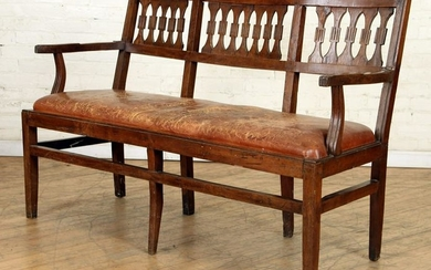 18TH C ITALIAN WALNUT OPEN ARM BENCH LEATHER SEAT