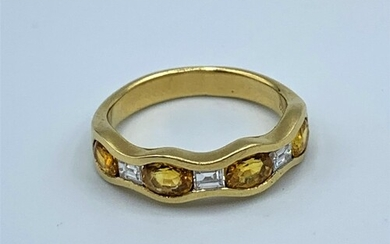 18ct yellow gold sapphire and diamond half eternity ring, we...