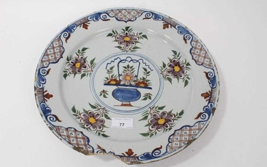 18th century Dutch Delft polychrome charger