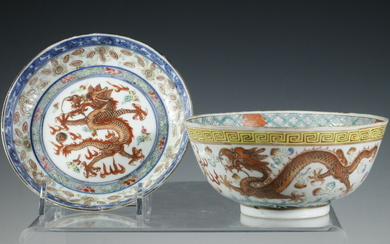 (2) CHINESE PORCELAIN DRAGON DISHES