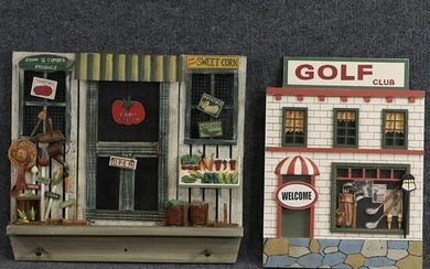 2 Contemporary Novelty Wall Hangings Golf & Farm Stand