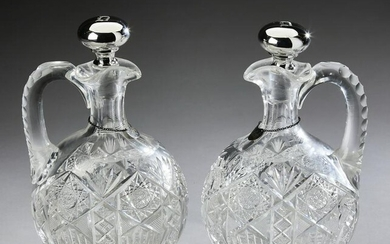 (2) Cut crystal and Gorham sterling stopper jugs