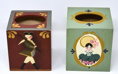 2 Hand Painted Folk Art Wooden Tissue Box Covers