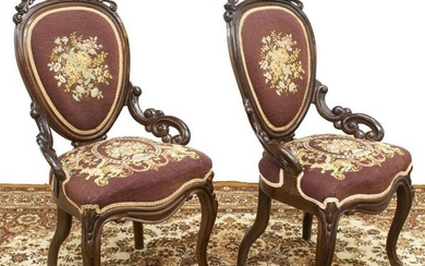 2) VICTORIAN NEEDLEPOINT UPHOLSTERED PARLOR CHAIRS