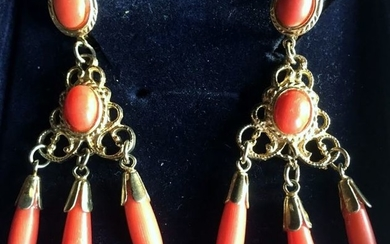 Gold-plated - Earrings Coral