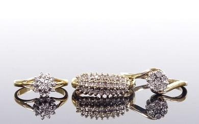 3 9ct gold diamond cluster dress rings, sizes H, N and Q, 6....