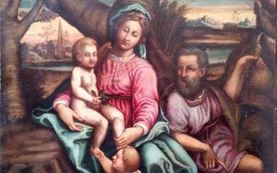Holy Family Painting - oil painting on canvas - Early 17th century