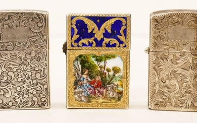 3pc Decorated Silver Zippo Lighter Cases 2.25''x1.5''
