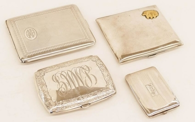 4pc Art Deco Sterling Cigarette and Card Cases 2.5'' to
