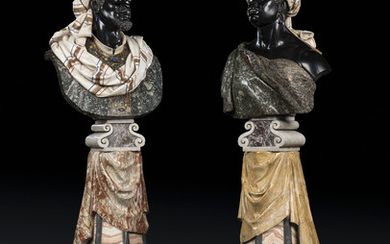 A PAIR OF ITALIAN POLYCHROME MARBLE OVER-LIFESIZE BUSTS, ON PEDESTALS, SECOND HALF 19TH CENTURY