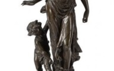 61077: A French Patinated and Gilt Bronze Figure of a W