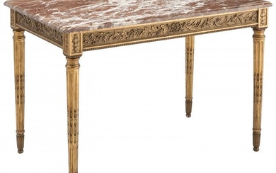 61077: A Louis XVI-Style Giltwood and Marble Table, 19t