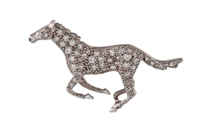 A DIAMOND SET GALLOPING HORSE BROOCH, with diamonds of appro...