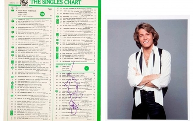 89777: Andy Gibb Signed Record World Singles Chart (197