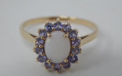 9ct yellow gold opal and purple stone cluster ring, oval cut...