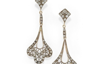 A 18K yellow gold and diamond pendant earrings