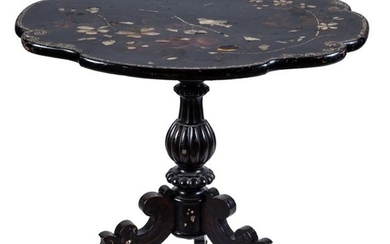 A 19th-Century English mother-of-pearl inlaid black centre table...