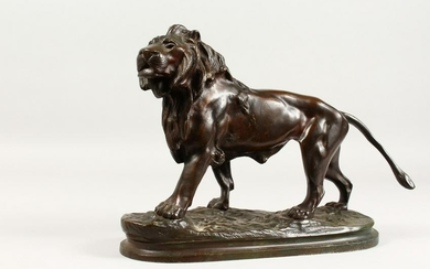 A. BARYE. A Lion Striding Out, one of a pair.