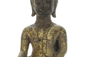 A BRONZE FIGURE OF SEATED BUDDHA, Thailand, 16th ct. - h. 16 cm