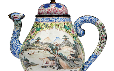 A CHINESE PAINTED ENAMEL WINE EWER AND COVER