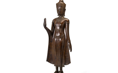 A COPPER ALLOY STANDING FIGURE OF A CROWNED BUDDHA
