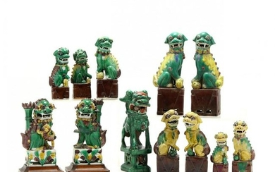 A Collection of Twelve Chinese Porcelain Foo Lions