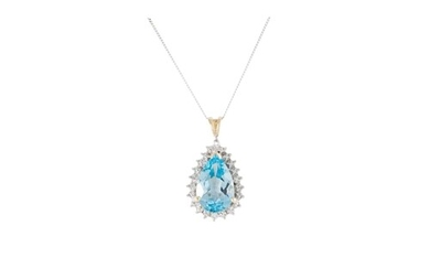 A DIAMOND AND TOPAZ PENDANT, pear shaped, mounted in white g...