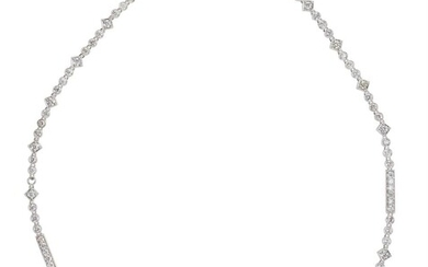A DIAMOND RIVIERE NECKLACE IN 18CT WHITE GOLD, COMPRISING ONE HUNDRED AND SIX ROUND BRILLIANT CUT DIAMONDS TOTALLING 6.57CTS, TOTAL...