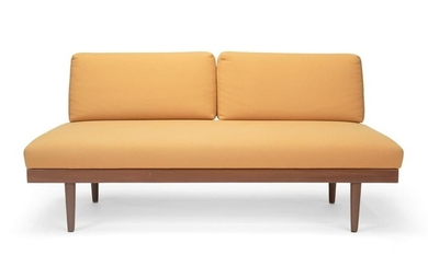 A Danish modern armless settee with two extension side