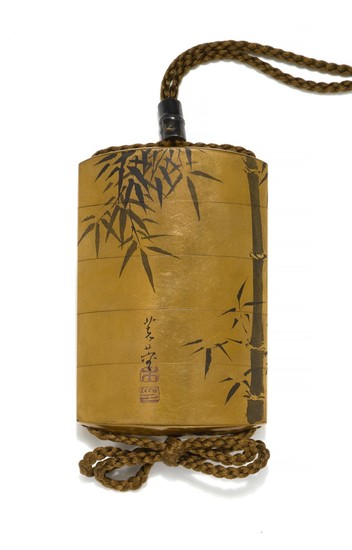 A FOUR-CASE INRO, SIGNED MANRINSAI WITH KAKIHAN, EDO PERIOD, 19TH CENTURY