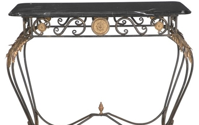 A French wrought iron console table with a black marble top. Ca. 1930. H. 81 cm. W. 105 cm. D. 54 cm.