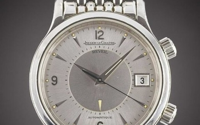 A GENTLEMAN'S STAINLESS STEEL JAEGER LECOULTRE MEMOVOX