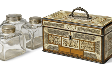 A GEORGE III BONE AND MOTHER-OF-PEARL-INLAID EBONY AND CHEQUERBANDED TEA CADDY, LATE 18TH CENTURY