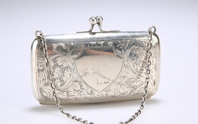 A GEORGE V SILVER PURSE, Birmingham 1918, engraved with