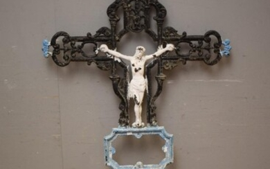 A LARGE 19TH CENTURY FRENCH CAST IRON CROSS WITH IMAGE OF JESUS IN CENTRE AND ANGLE FIGURE TO BASE - BLUE HIGHLIGHTS (159H x 78W CM)...