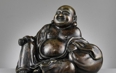 A LARGE AND HEAVILY CAST BRONZE OF BUDAI, QING