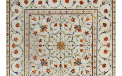 A MUGHAL PIETRA DURA INLAID MARBLE FOOTREST, NORTH INDIA, CIRCA 1700