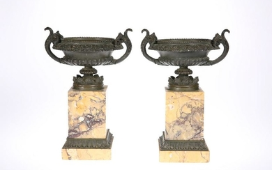 A PAIR OF 19TH CENTURY SIENNA MARBLE AND BRONZE URNS