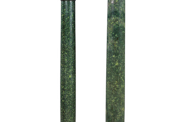A PAIR OF FRENCH ORMOLU-MOUNTED PORPHRY AND GREEN MARBLE PEDESTALS, LATE 19TH CENTURY