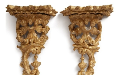 A PAIR OF GEORGE III GILTWOOD BRACKETS, MID-18TH CENTURY