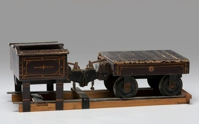 A Painted Wood Patent Model of a Train Car
