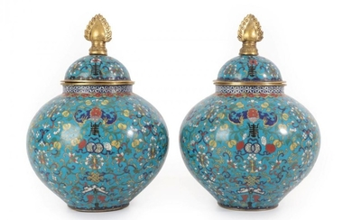A Pair of Chinese Cloisonné Enamel Jars and Covers, Qing...
