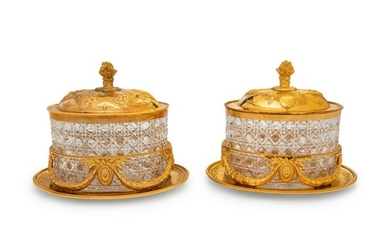 A Pair of English Gilt Silver-Plate Biscuit Boxes