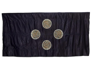 A RARE IMPERIAL MIDNIGHT-BLUE EMBROIDERED YARDAGE FOR AN EMPEROR'S SURCOAT, GUNFU