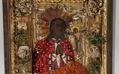 A RUSSIAN ICON OF THE AKHTUIRSKAYA MOTHER OF GOD