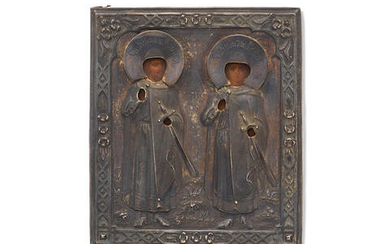 A Russian silver covered icon of St. Boris and St. Gleb