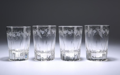 A SET OF FOUR LATE VICTORIAN ENGRAVED GLASS TUMBLERS