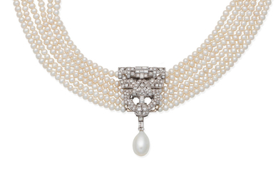 A cultured pearl necklace and diamond clip combination