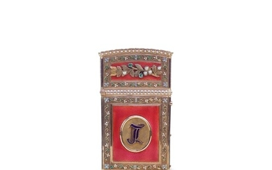 A fine French 18ct gold and enamel Carne de Balle In strawbe...