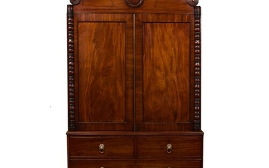 A good late-Regency mahogany linen press, stamped by A. Solo...